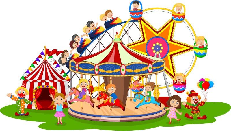 Kartonu park rozrywki ilustracja wektor