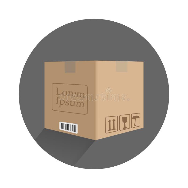 kartonu pudełko w płaskim projekcie z znakami ilustracja wektor
