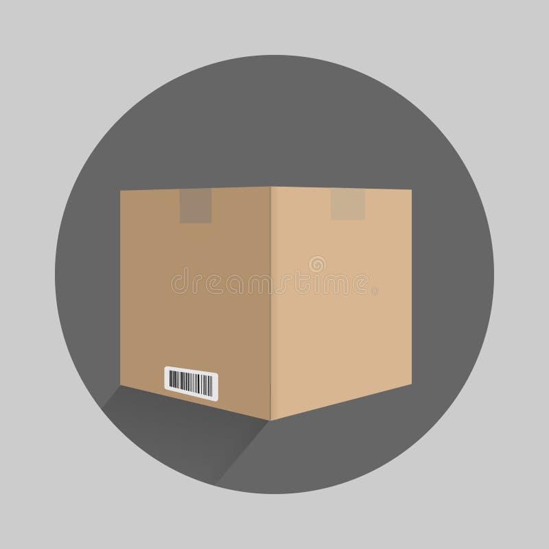 kartonu pudełko w płaskim projekcie z znakami royalty ilustracja