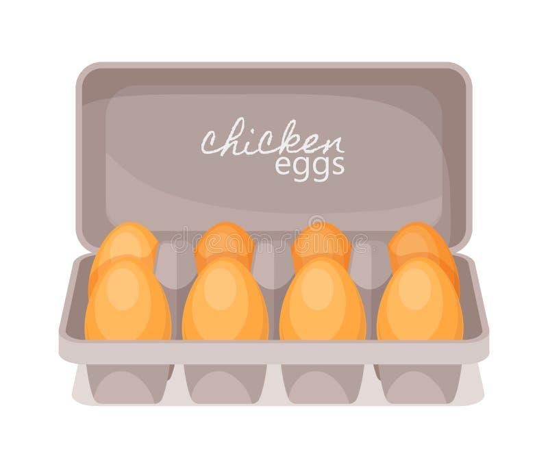 Kartonu pudełko z świeżymi kurczaków jajkami, produkt rolniczy dla gotować Kurczak?w jajka w kartonie ilustracja wektor