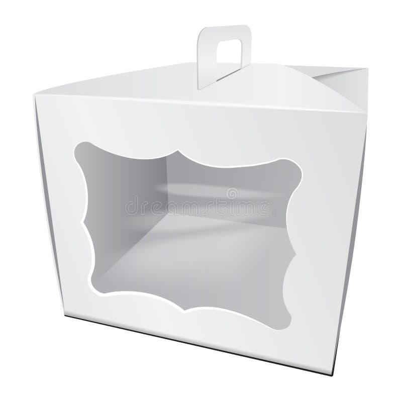 Kartonu Tortowy Biały pudełko Dla fasta food, prezenta, etc, Niesie Pakować Szablon pakunek Wektorowy mockup royalty ilustracja