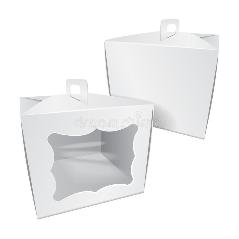 Kartonu Tortowy Biały pudełko Dla fasta food, prezenta, etc, Niesie Pakować Wektorowy mockup Szablon pakunek royalty ilustracja