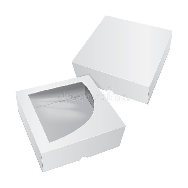 Kartonu Tortowy Biały pudełko Dla fasta food, prezenta, etc, Wektorowy mockup Niesie Pakować Szablon ustawiający pakunek ilustracji