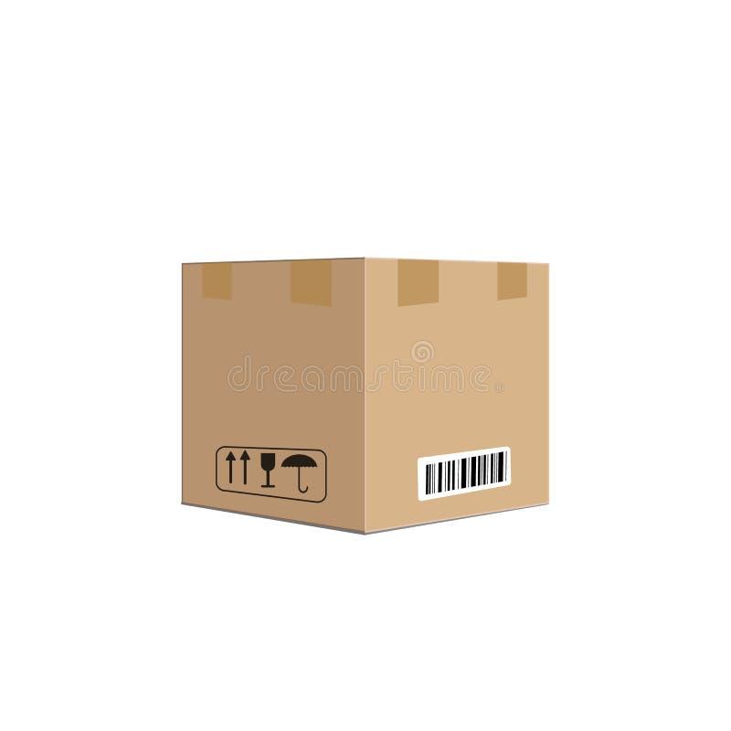 Kartonvakje container vectorillustratie, kartonvakje pak met de behandeling van verpakkingspictogrammen, tekststickers, streepjes royalty-vrije illustratie
