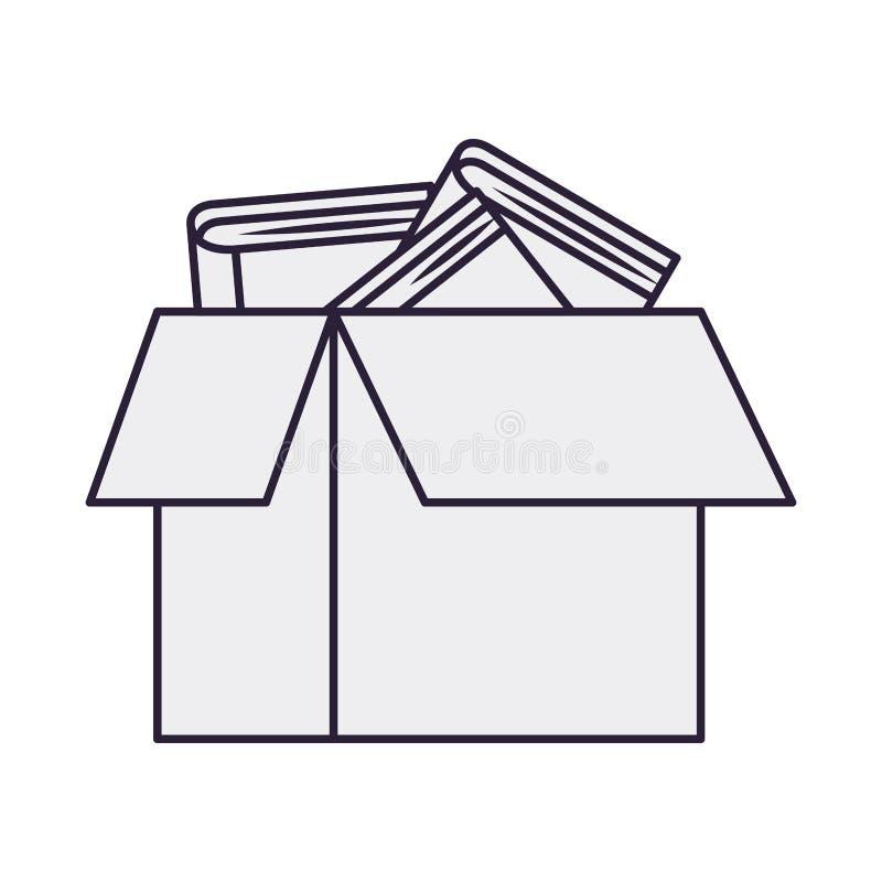 Kartonvakje met boeken geïsoleerd pictogram stock illustratie