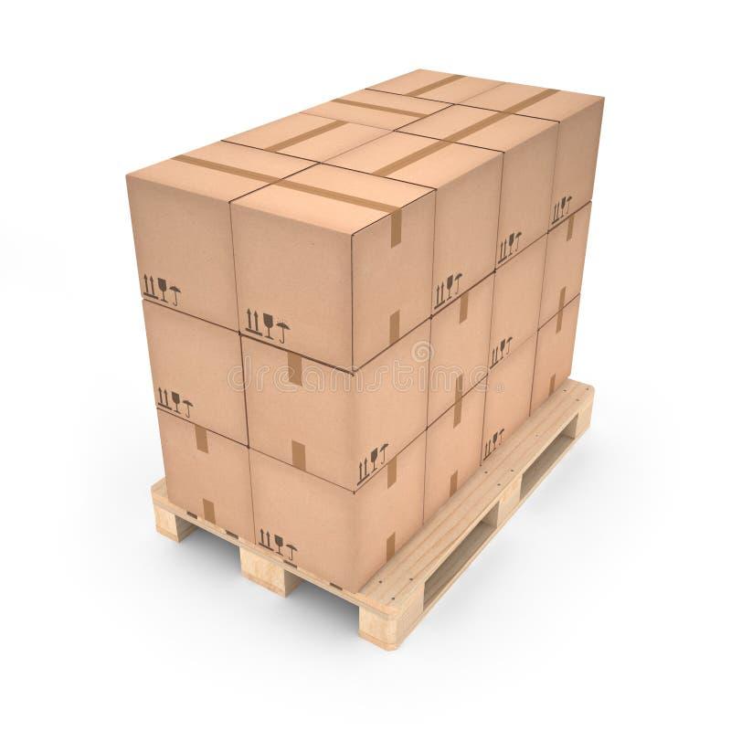 Kartony na drewnianym barłogu (3d ilustracja) ilustracji