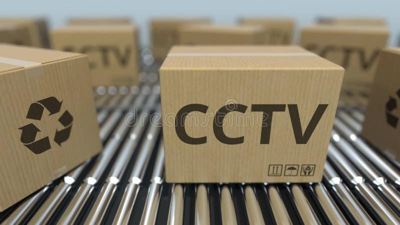 Kartony z CCTV wyposażeniem na rolkowych konwejerach ?wiadczenia 3 d ilustracji