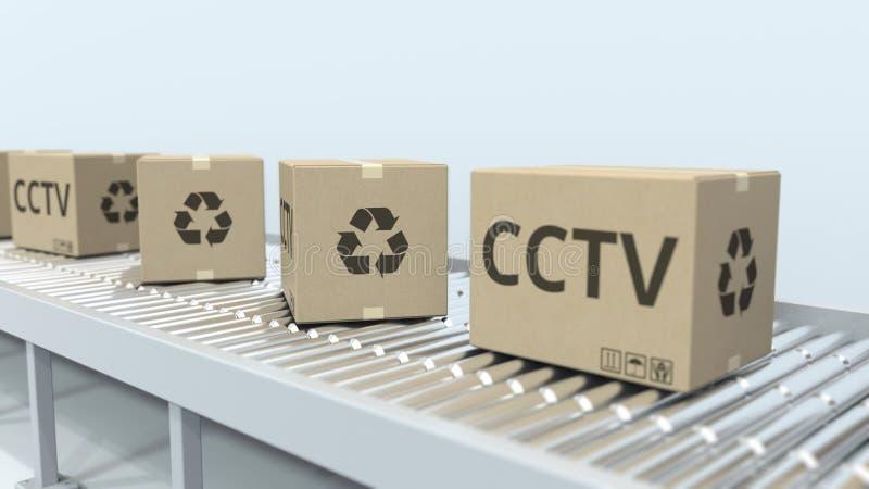 Kartony z CCTV wyposażeniem na rolkowym konwejerze ?wiadczenia 3 d royalty ilustracja