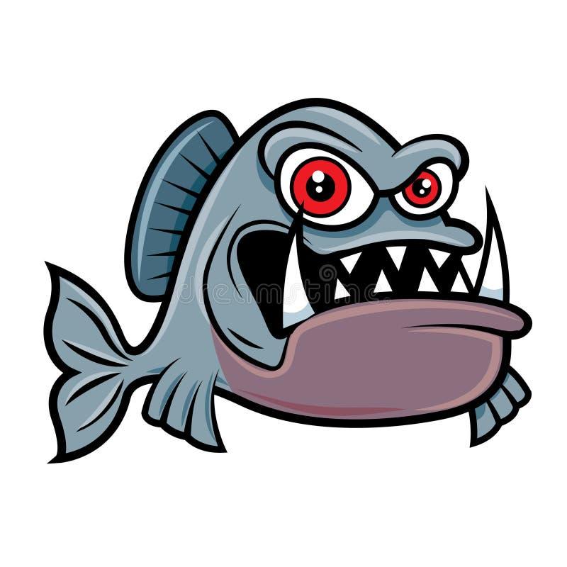 Kartoon arg piranha-fiskkaraktär med stora röda ögon vektor illustrationer