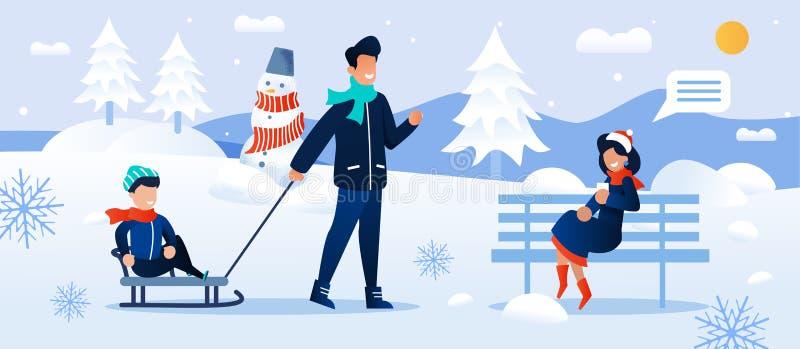 Kartoon Family Rest i Snowy Forest Park tillsammans stock illustrationer