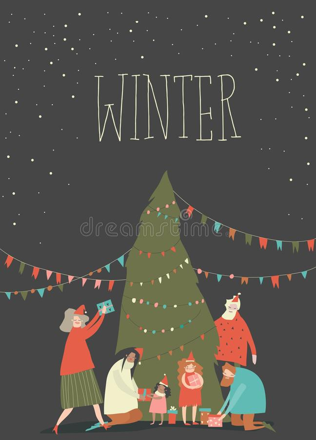 Kartoon - lycklig familj firar jul glädjande känslor stock illustrationer
