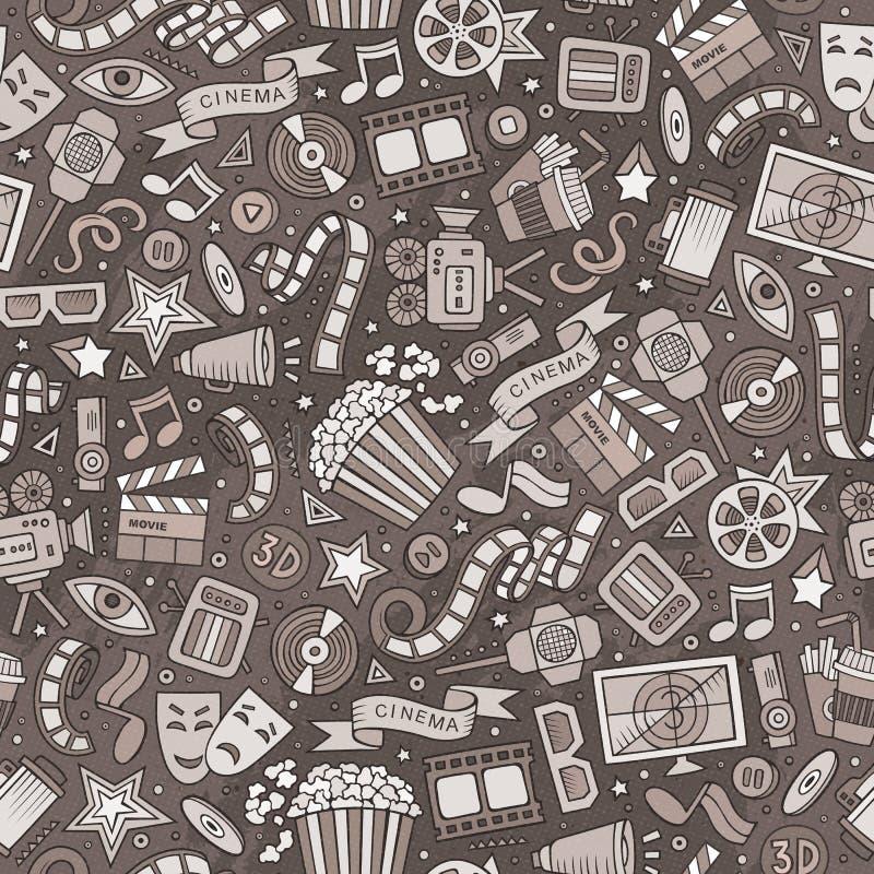 Kartoon, söt, handritad film, sömlöst mönster arkivbilder