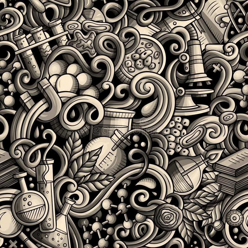 Kartoon, söta doodlar, handritad Science, sömlöst mönster royaltyfri foto
