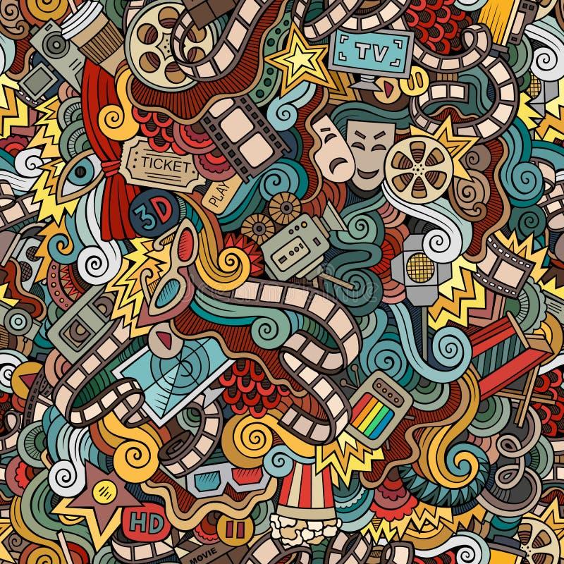 Kartoon, söta doodles Sömlöst mönster royaltyfri bild