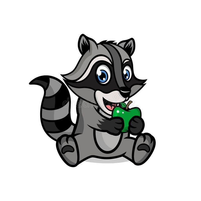 Kartoonkaraktär hos en söt tvättbjörn med äpple Vektorillustration stock illustrationer