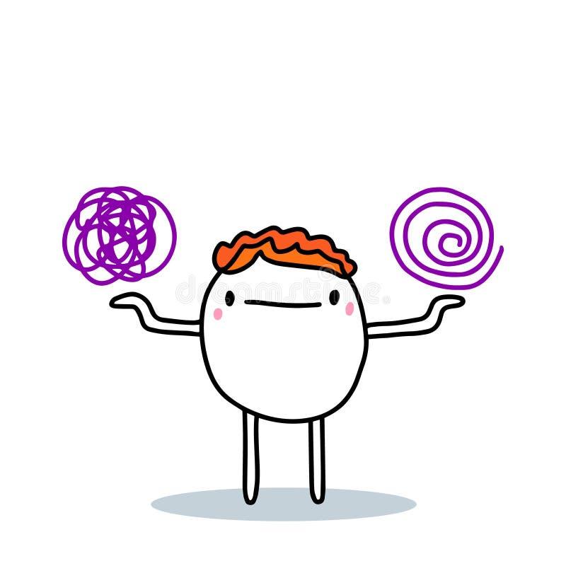 Kartoonmannen väljer mellan en enda röra av tankar och ett strukturerat sinneläge, handritad vektorbild vektor illustrationer