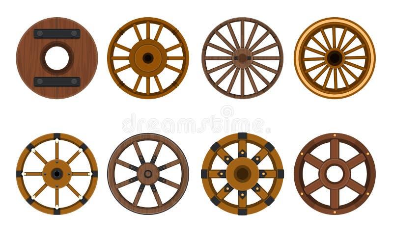Kartoonset för trämjulvektor Hjulets vektorillustration Isolerad kartong för vagn på royaltyfri illustrationer
