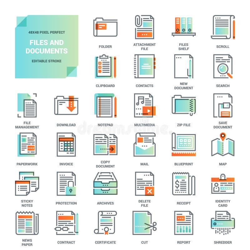Kartotek i dokumentów mieszkania linii ikony ilustracja wektor