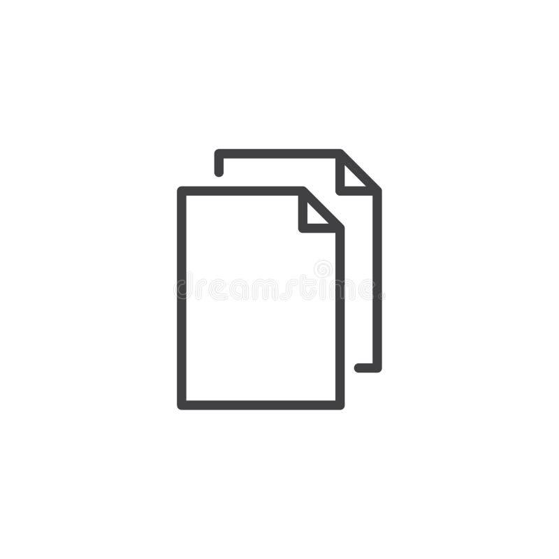 Kartoteka dokumentów konturu ikona ilustracji