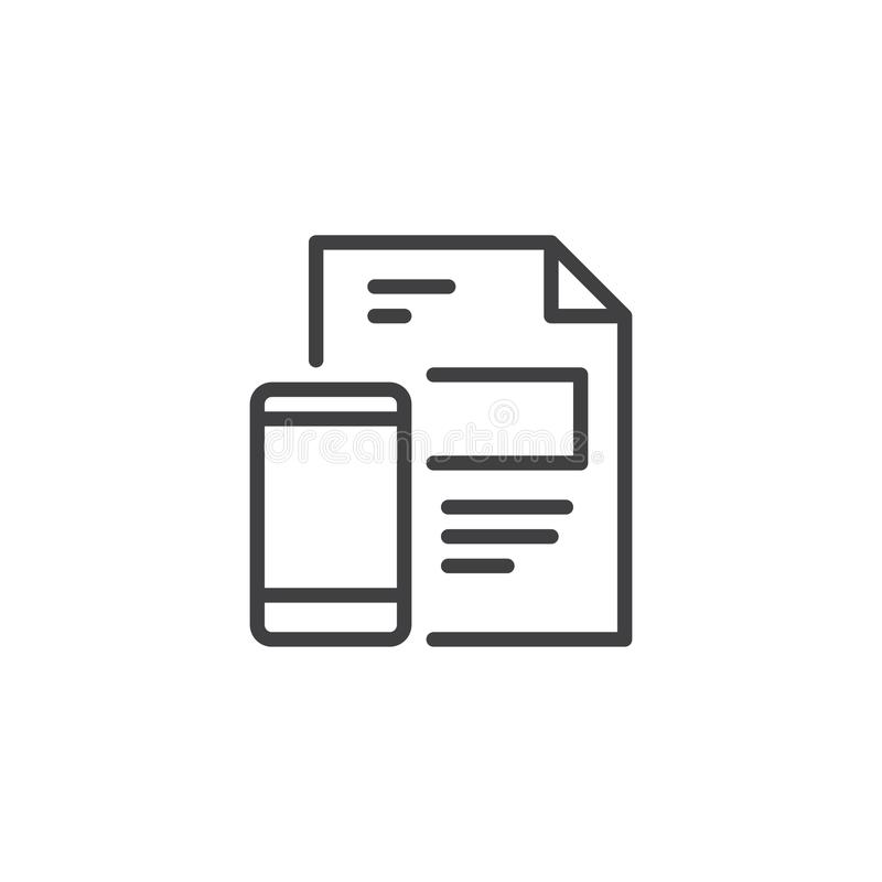 Kartoteka dokumentu i telefonu komórkowego konturu ikona royalty ilustracja