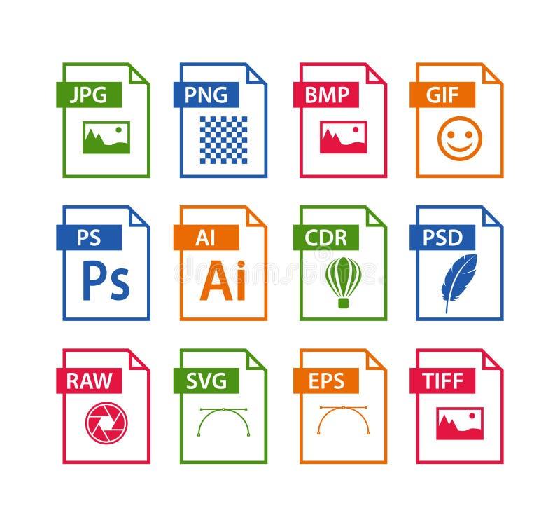 Kartoteka formata ikony set Wizerunek kartoteki typ ikona ilustracja wektor