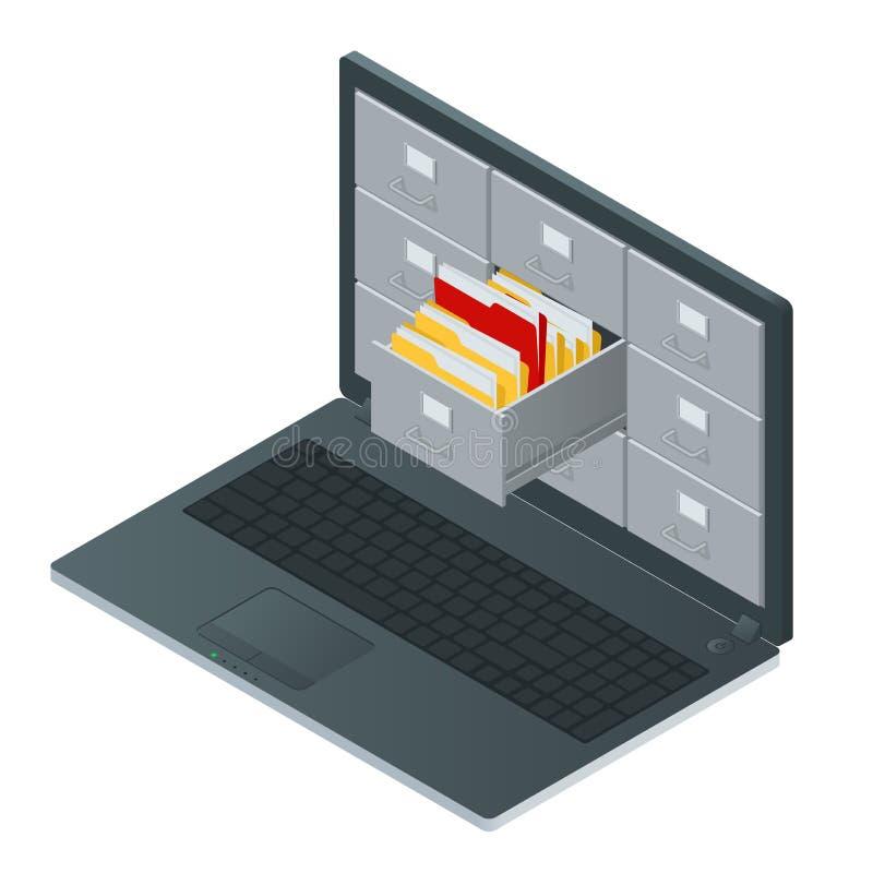 Kartoteka gabinety wśrodku ekranu laptop Laptopu i kartoteki gabinet Przechowywania danych 3d isometric ilustracja ilustracja wektor