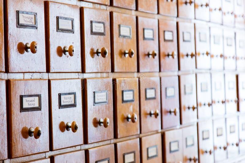 Kartoteka katalog w bibliotece zdjęcia stock
