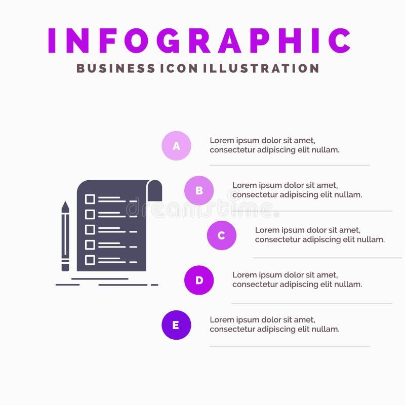 Kartoteka, raport, faktura, karta, listy kontrolnej ikony Infographics 5 kroków prezentacji Stały tło ilustracja wektor