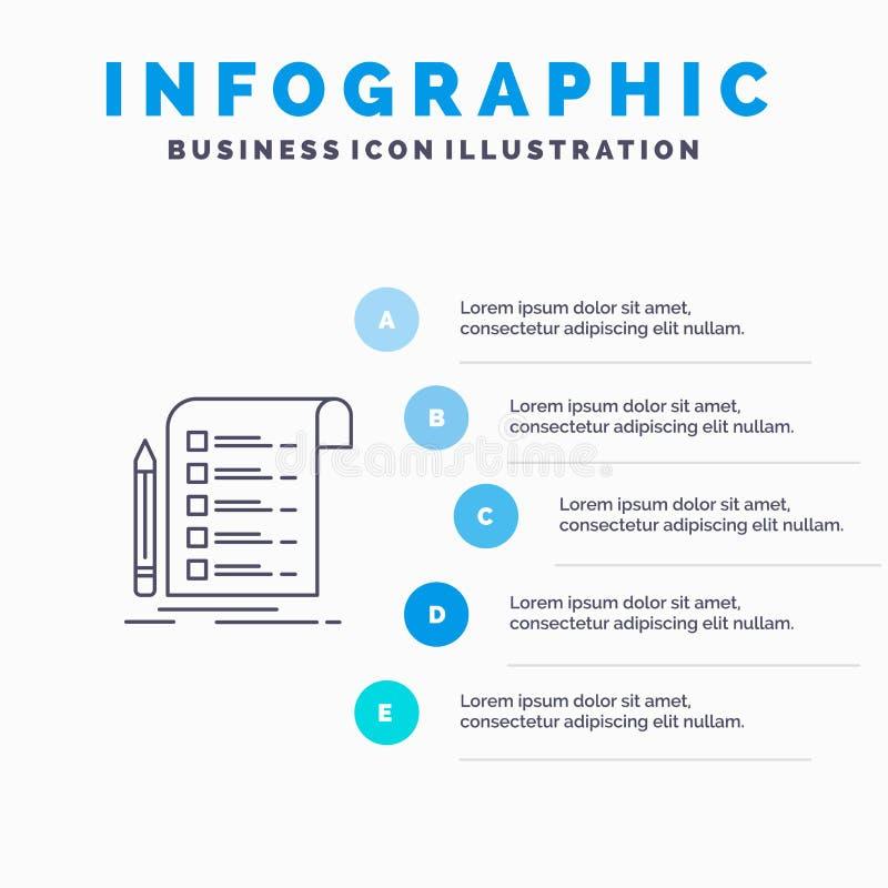 Kartoteka, raport, faktura, karta, listy kontrolnej Kreskowa ikona z 5 kroków prezentacji infographics tłem ilustracja wektor