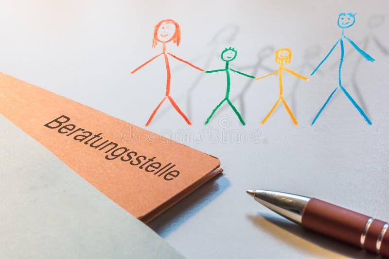Kartoteka z Niemieckim słowem dla doradzać centrum i malującą rodziny jako 3d odpłacał się Illsutration ilustracja wektor