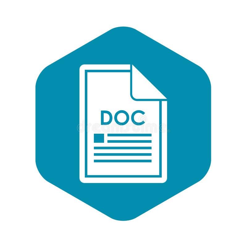 Kartoteki DOC ikona, prosty styl royalty ilustracja