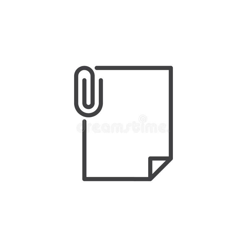 Kartoteki doczepiania konturu ikona ilustracja wektor