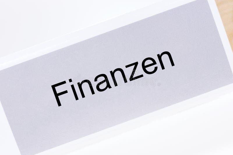 Kartoteki falcówka Finansuje Finanzen w Niemieckim języku obraz royalty free