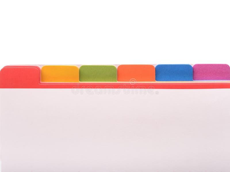 Kartoteki falcówka z kolor etykietkami obrazy stock