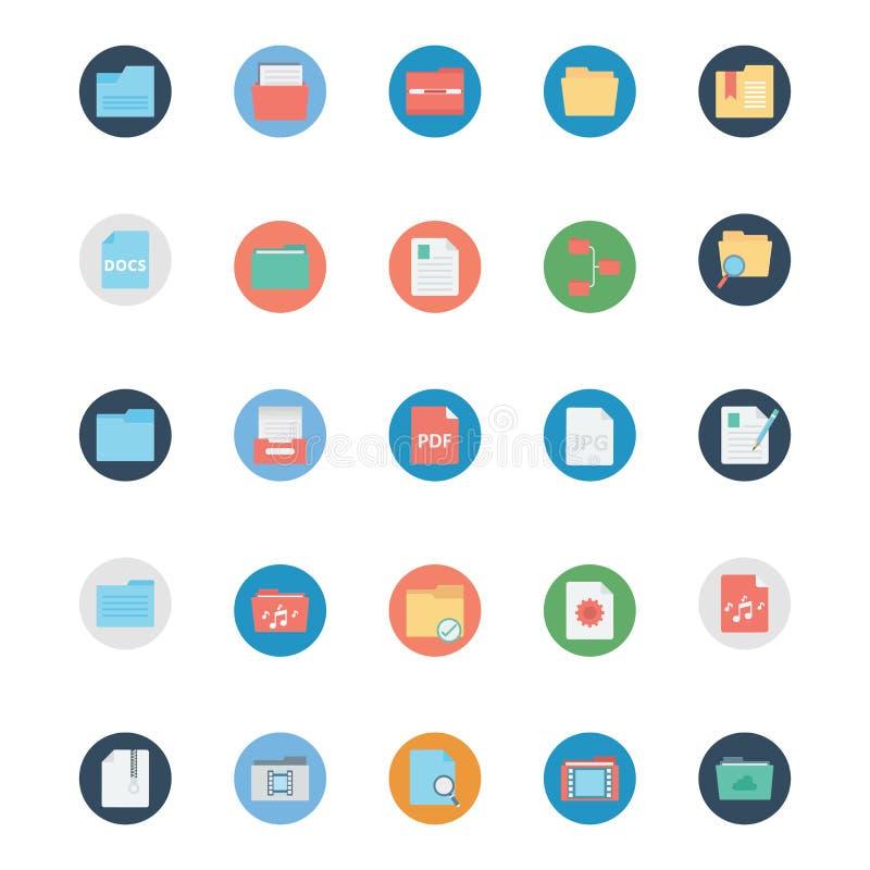 Kartoteki i falcówka Odizolowywali wektorowe ikony Ustawiają Każdy falcówkę lub kartotek ikony Mogą być łatwo kolorem modyfikując royalty ilustracja