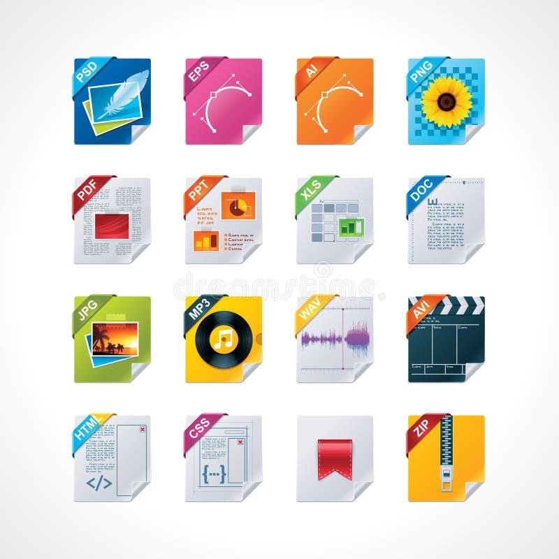 kartoteki ikona przylepiać etykietkę set ilustracja wektor