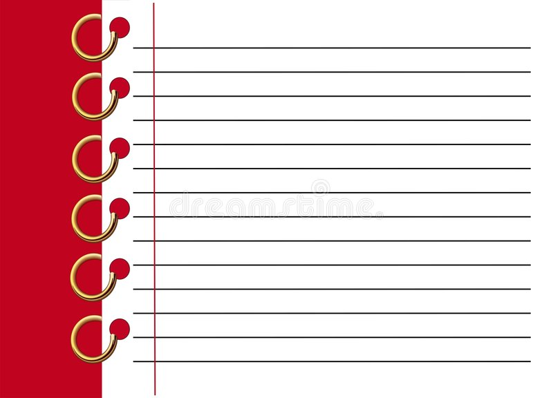 kartoteki notatnika czerwieni spirala royalty ilustracja