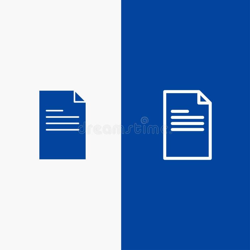 Kartoteki, teksta, dane, raport linii i glifu Stałej ikony sztandaru glifu, Błękitnej ikony błękita Stały sztandar ilustracji