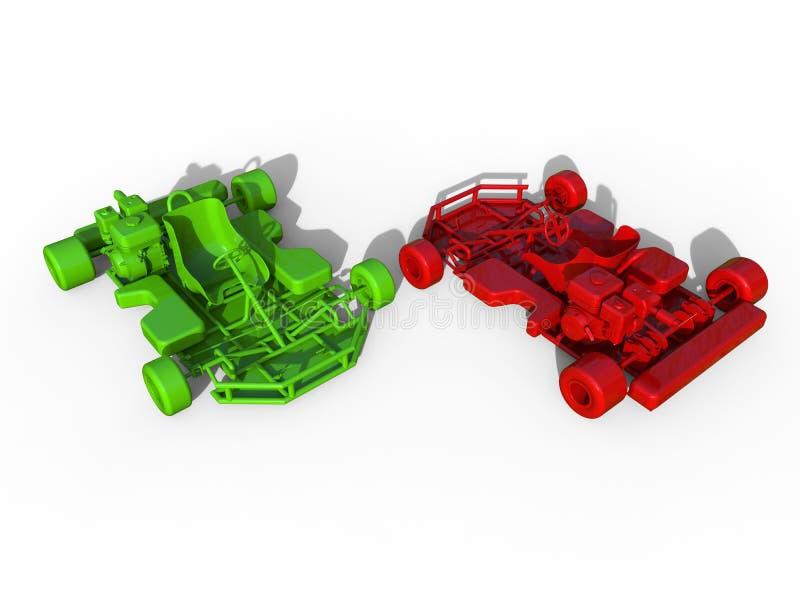 Karts rouges et verts illustration libre de droits