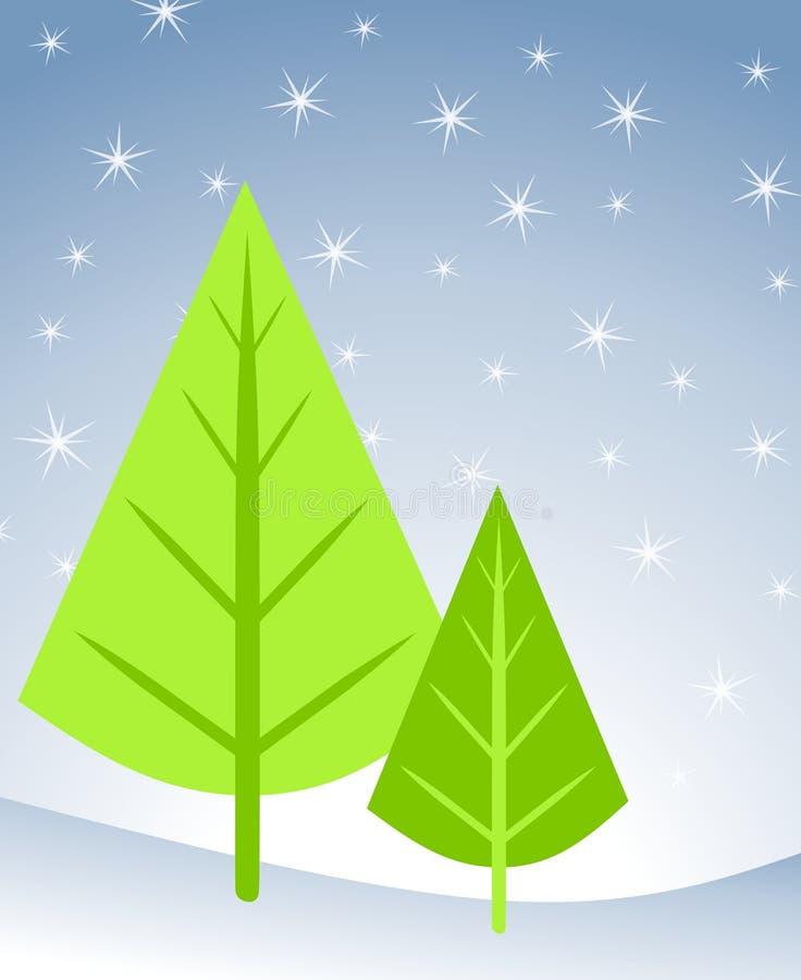 karty świąteczne drzewko sceny. royalty ilustracja