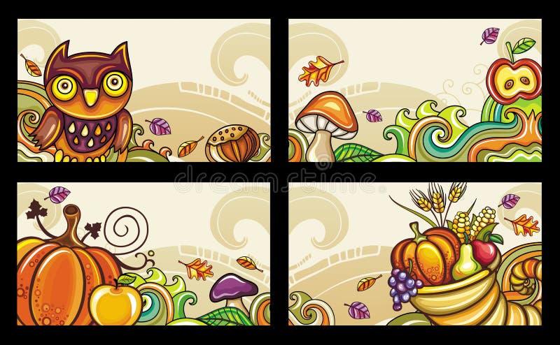 karty 2 jesiennej serii ilustracji