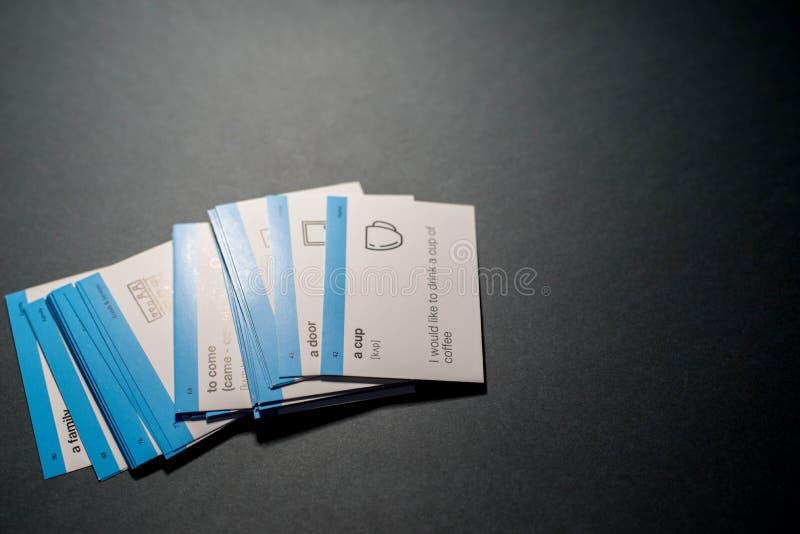 Karty dla uczy? si? angielszczyzny fotografia stock