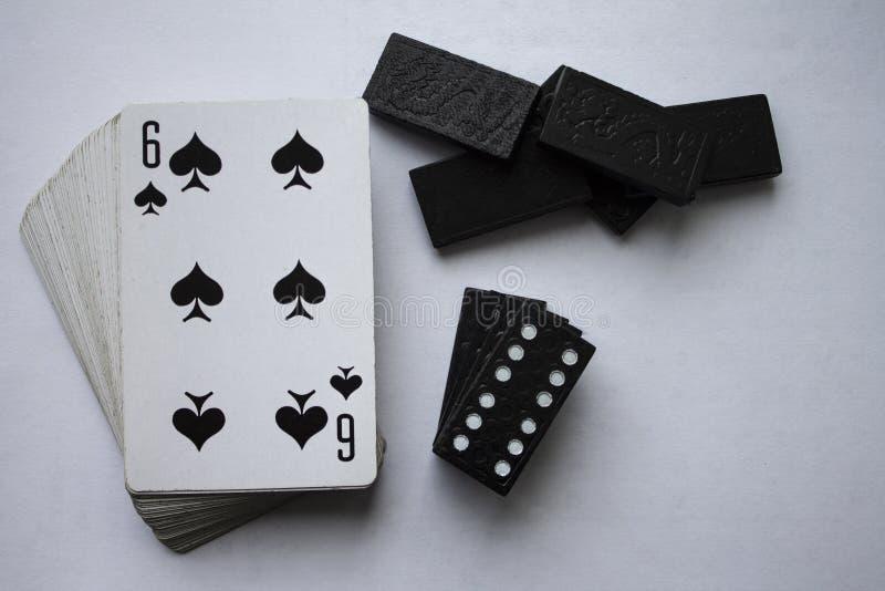 Karty do gier i dice domino zdjęcia royalty free