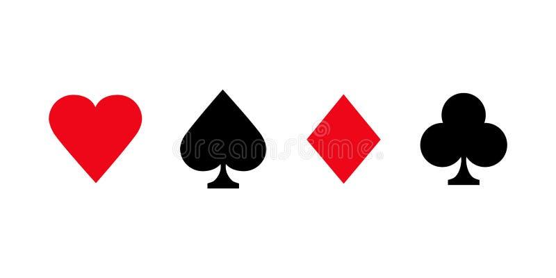 Karty do gier typu Poker Niewiele znaków tekstowych oznacza kolor czerwony i czarny wyizolowany na białym tle royalty ilustracja