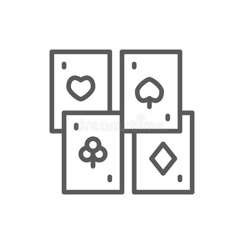 Karty do gry, cztery kostiumu wykładają ikonę ilustracji