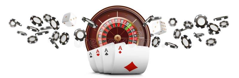 Karty do gry i grzebaków układy scaleni latają kasynowego szerokiego sztandar Kasynowy ruletowy pojęcie na białym tle Grzebaka ka ilustracji