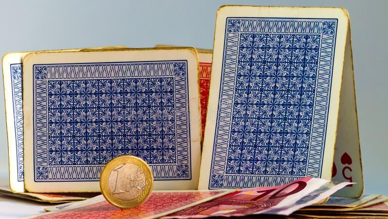 Karty do gry robi troszkę domowi zdjęcie royalty free