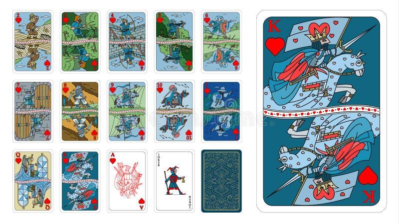 Karty do gry w fantazji projektują serca jako ludzka kreskówka ilustracja wektor