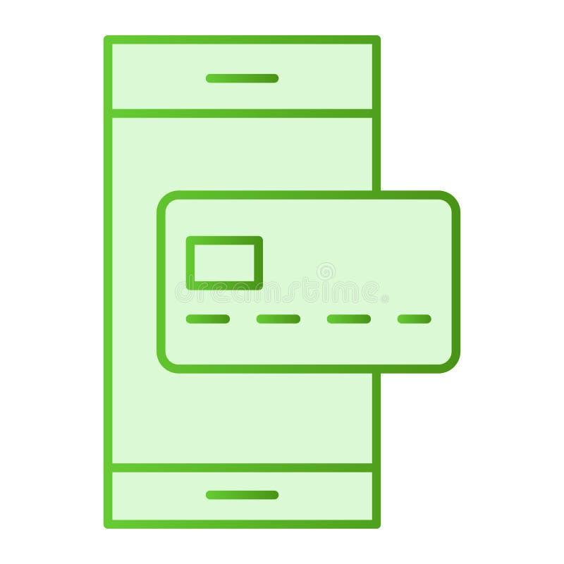 Karty kredytowej i telefonu komórkowego mieszkania ikona Nfc zapłaty zieleni ikony w modnym mieszkaniu projektują Smartphone i kr royalty ilustracja