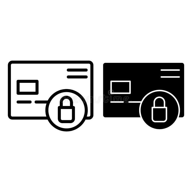 Karty kredytowej ochrony linia i glif ikona Klingeryt karta i kędziorek wektorowa ilustracja odizolowywająca na bielu Zamknięty k ilustracja wektor